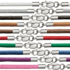 Nylonband mit Silberverschluss, 2mm x 45cm Farbe: schwarz