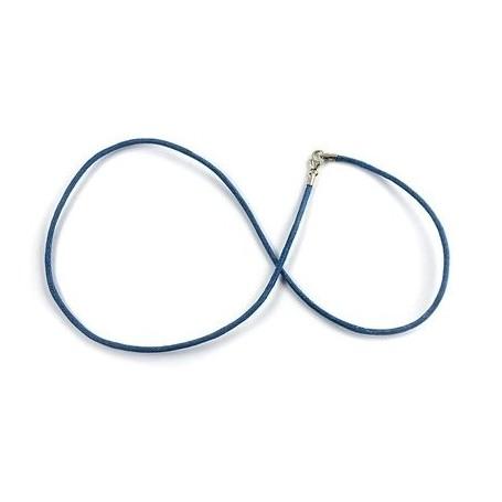 Baumwollband mit Silber-Verschluss, Königsblau, 1,5mm x 45cm