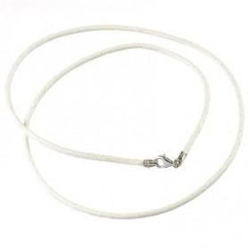 Baumwollband mit Silber-Verschluss, Weiß, 1,5mm x 45cm