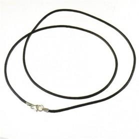 Baumwollband mit Silber-Verschluss, Schwarz, 1,5mm x 45cm