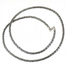 Lederband geflochten Silber mit Karabiner 925 Silber, 3mm x 50cm