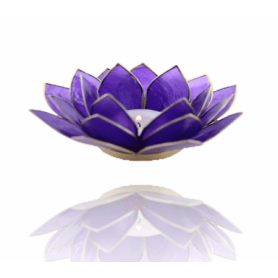 Lotus Capiz Licht - indigo/purpur (Chakra 6) - mit goldfarbige Rand