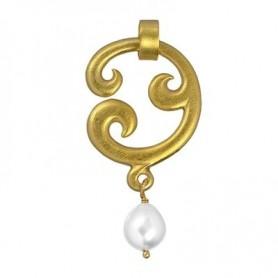 Anhänger -Paisley- einfach, Silber vergoldet, Perle (weiss), 5cm