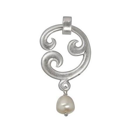 Anhänger -Paisley- einfach, Silber, Perle (weiß), 5cm