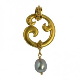 Anhänger -Paisley-, Silber vergoldet, Perle (grau), 5cm