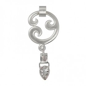 Anhänger -Paisley-, Silber, Topas (weiss), 6cm