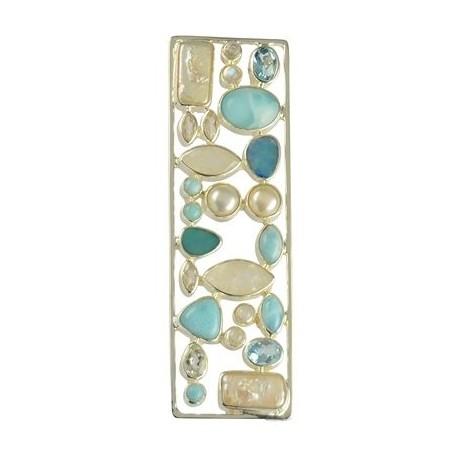 Anhänger Larimar, Topas, Labradorit, Opal (Dublette), Perlen, ca. 9,5cm