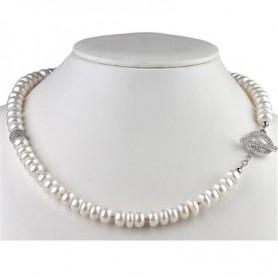 Collier Perlen weiß, Cubic Zirkonia, Silber rhodiniert