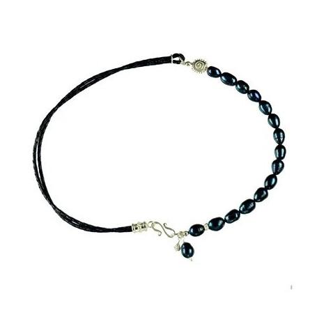 Design Collier mit Silberkomponenten, Leder und Perle (gef), Länge 47cm