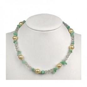 Kette -Grün-Gelb-, Muschelkern-Perle (gef.) und facettiertem Bergkristall 45-51cm