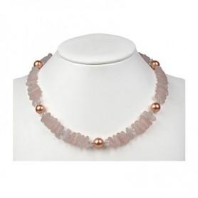 Kette -Rosa-Pink-, Rosenquarz , Muschelkernperle , fac. Bergkristall 45-51cm