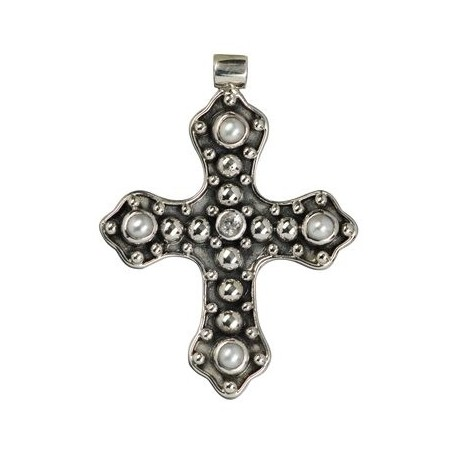 Anhänger -Kreuz- mit Topas u. Perlen, Silber teilw. Geschwärzt