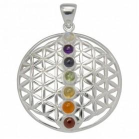 Design-Anhänger -Blume des Lebens- mit Chakra-Steinen, Silber