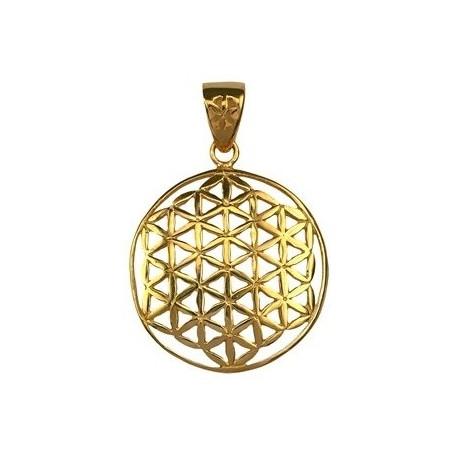 Design-Anhänger -Blume des Lebens-, Silber vergoldet, 25mm