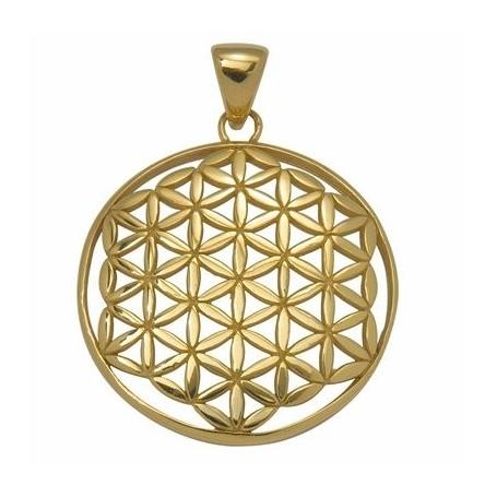 Design-Anhänger -Blume des Lebens-, Silber vergoldet, ca. 32mm
