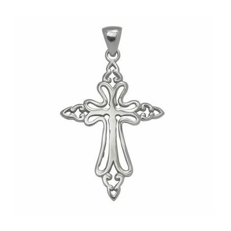 Symbol-Anhänger Schleifen-Kreuz, Silber
