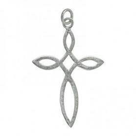 Symbol-Anhänger Unendlichkeits-Kreuz Silber matt, 3,8cm