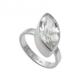 Design-Ring mit Navette Topas weiß