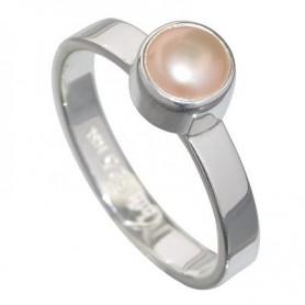 Design-Ring mit Perle lachsfarben