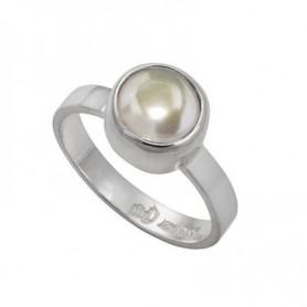 Design-Ring mit Perle weiß