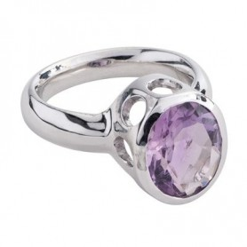 Ring Amethyst oval, facettiert, rhodiniert