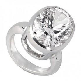Ring Bergkristall oval, facettiert, Silber rhodiniert