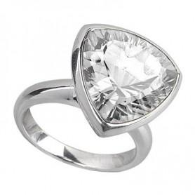 Ring Bergkristall, dreieckig, facettiert