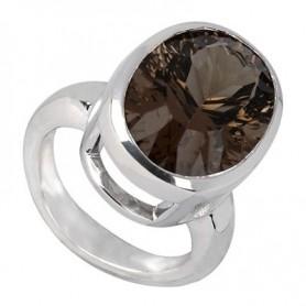 Ring Rauchquarz oval, facettiert, Silber rhodiniert