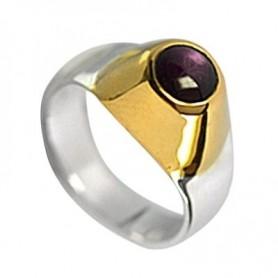 Ring mit Rubin, Fassung vergoldet