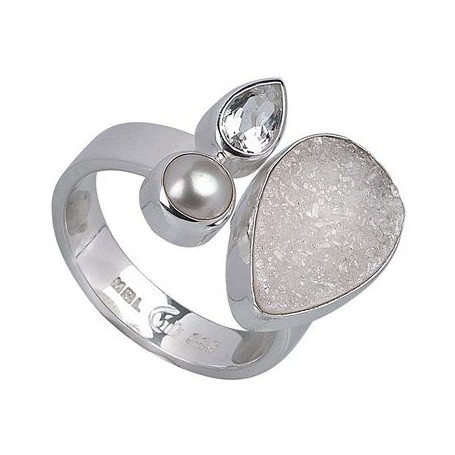 Ring Achat-Druzy, Topas weiss, Perle
