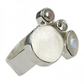 Ring Achat-Druzy, Topas, Labradorit weiß, Perle