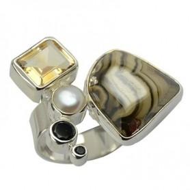 Ring Univeralgröße, Perle, Citrin und Spinell