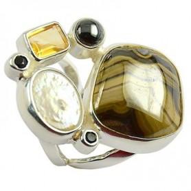 Ring Universalgröße, Perle, Hämatit, Citrin und Spinell
