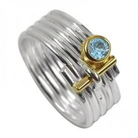 Ring Streifen Topas blau