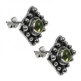 Ohrstecker Quadrat mit Kugeln, Turmalin grün
