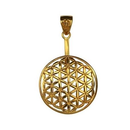 Donuthalter -Blume des Lebens- Silber vergoldet, für 40mm-Donut
