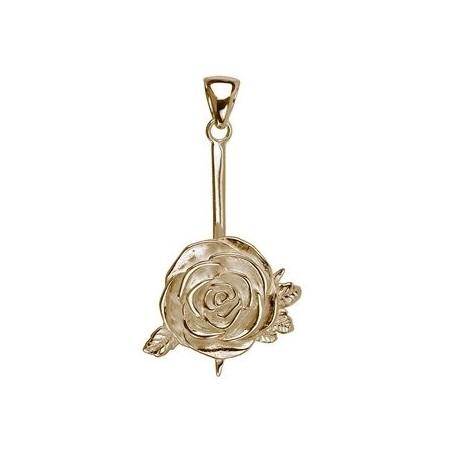 Donuthalter -Rose- Silber vergoldet, für 30mm- und 40mm-Donut