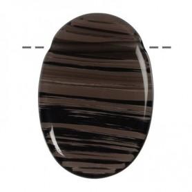 Linsenstein Obdisian (Lamellen-Obsidian) gebohrt