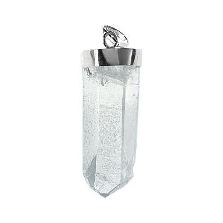 Anhänger Bergkristall roh mit Silberkappe, ca. 3,0 - 4,5cm