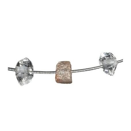 Collier mit Diamant und Herkimer, 50 cm