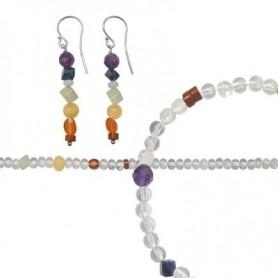 Set Chakra-Schmuck Crystal (Ohrhänger, Armband und Kette)