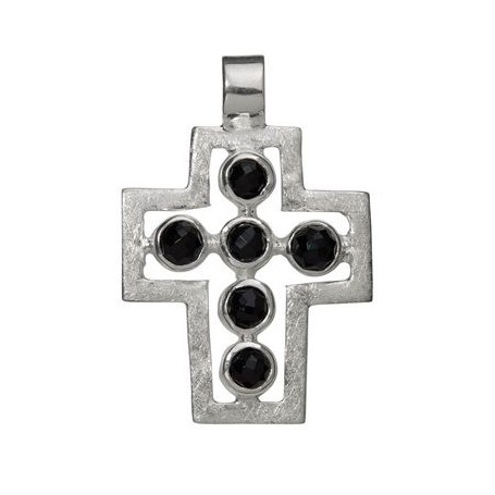 Symbol-Anhänger Passions-Kreuz mit Onyx (gef.), 925 Silber, matt