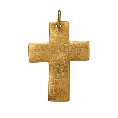Symbol-Anhänger Passions-Kreuz, breit, 925 Silber vergoldet, matt