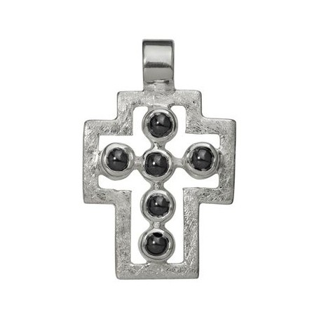 Symbol-Anhänger Passions-Kreuz, mit Hämatit, 925 Silber, matt