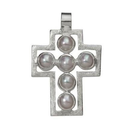 Symbol-Anhänger Passions-Kreuz, mit Perlen, 925 Silber, matt