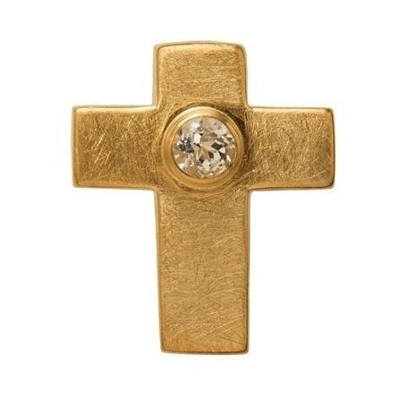 Symbol-Anhänger Passions-Kreuz, mit Topas, 925 Silber vergoldet, matt