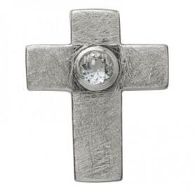 Symbol-Anhänger Passions-Kreuz, mit Topas, 925 Silber, matt