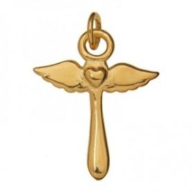 Symbol-Anhänger Herzengel-Kreuz, 925 Silber vergoldet, poliert