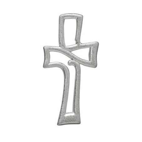 Symbol-Anhänger Durchbrochenes Kreuz, 925 Silber, matt