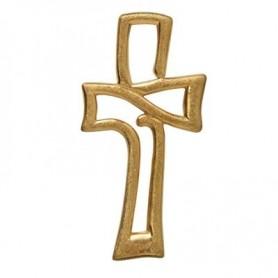 Symbol-Anhänger Durchbrochenes Kreuz, 925 Silber vergoldet, matt